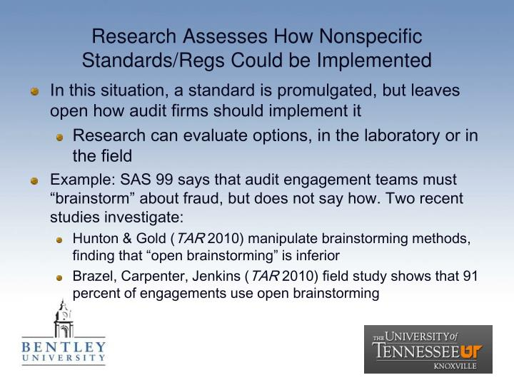 Research Assesses How Nonspecific Standards/