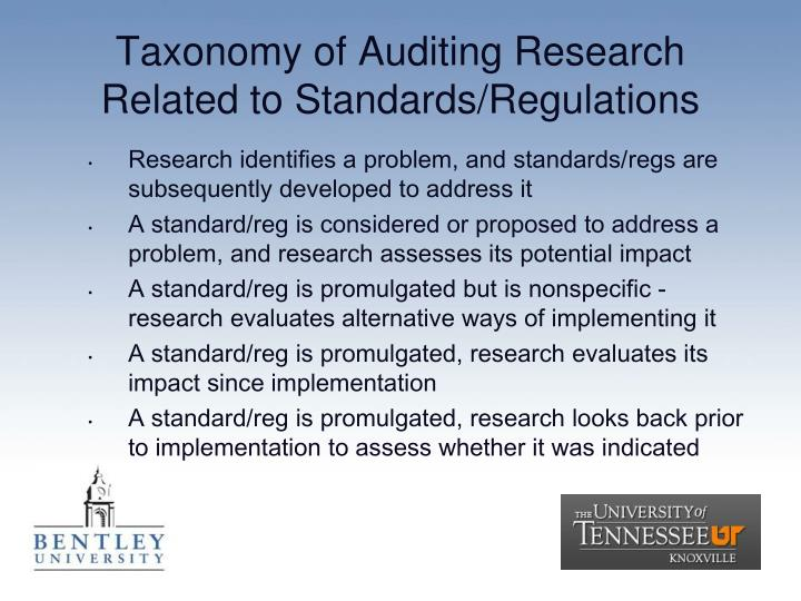 Taxonomy of Auditing Research Related to Standards/Regulations