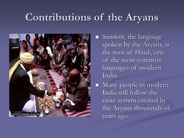 Contributions of the Aryans