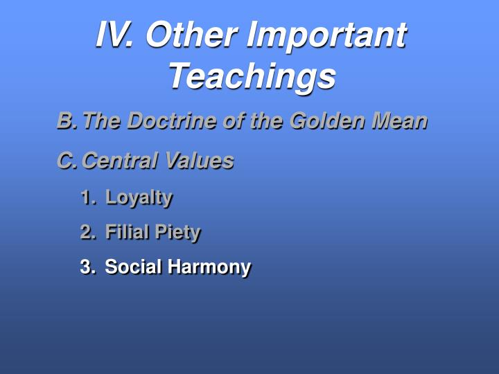 IV. Other Important Teachings