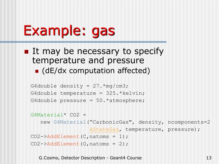 Example: gas