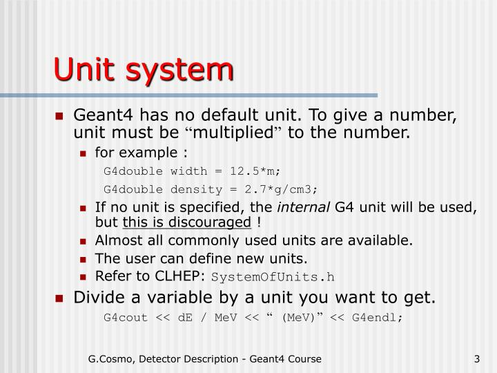 Unit system