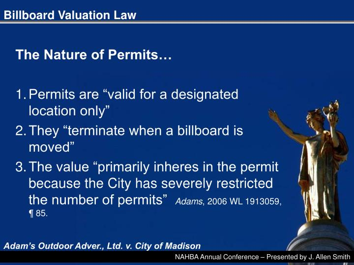 Billboard Valuation Law