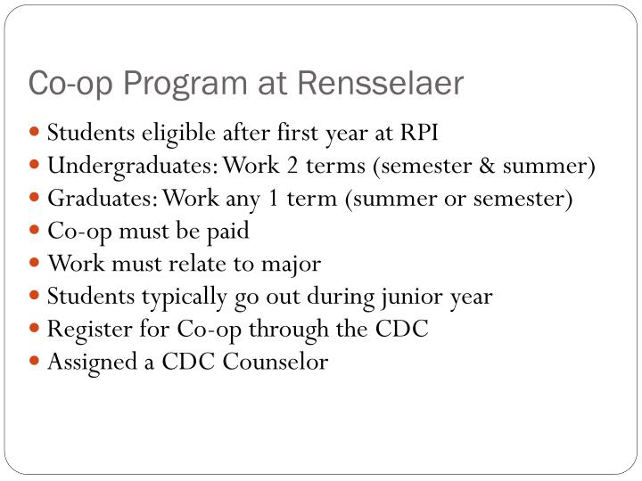Co-op Program at Rensselaer