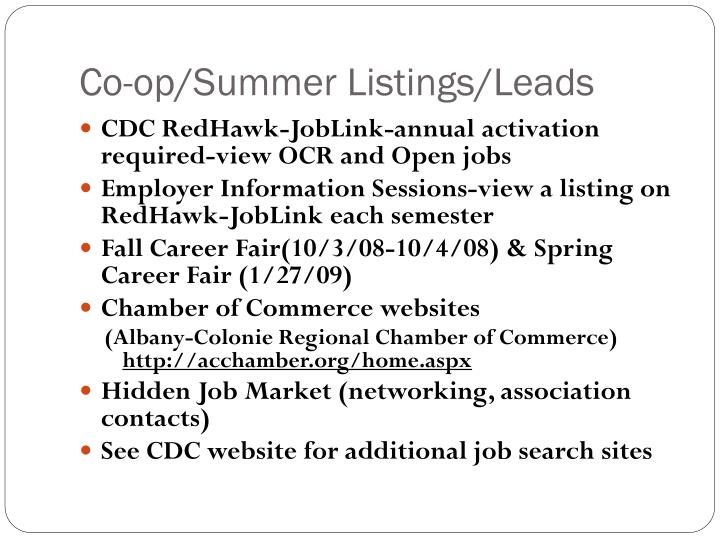 Co-op/Summer Listings/Leads