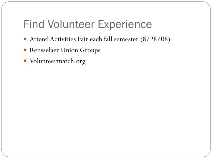 Find Volunteer Experience
