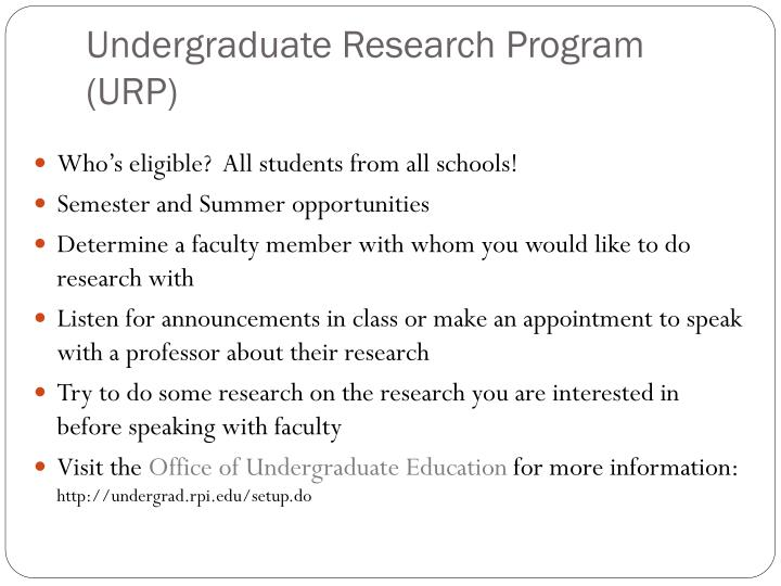 Undergraduate Research Program (URP)