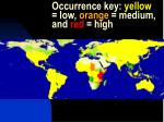 occurrence key yellow low orange medium and red high