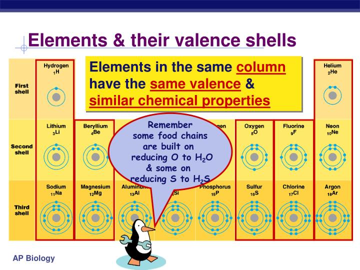Elements & their valence shells