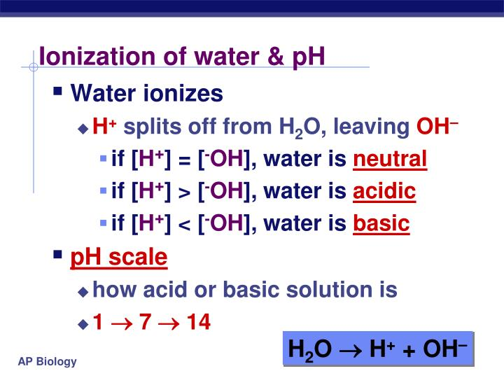 Ionization of water & pH