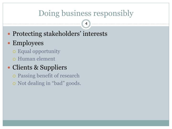 Doing business responsibly