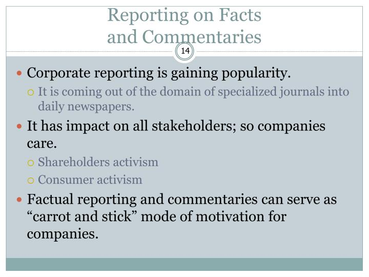 Reporting on Facts