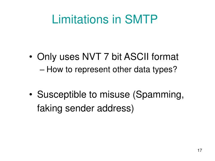 Limitations in SMTP