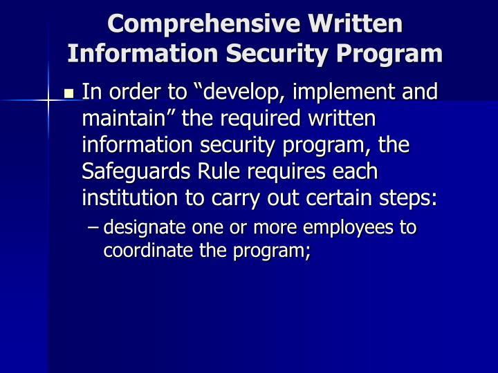 Comprehensive Written Information Security Program