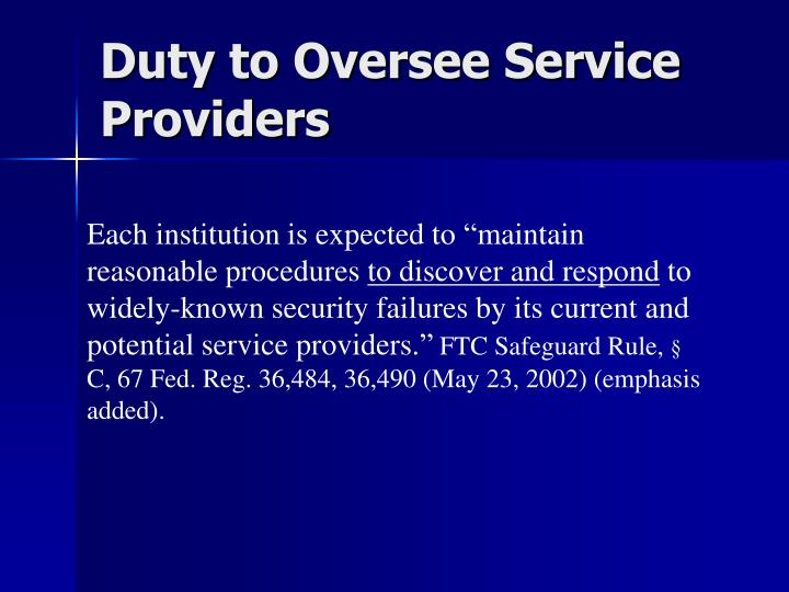 Duty to Oversee Service Providers