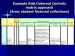 example risk internal controls matrix approach area student financial collections