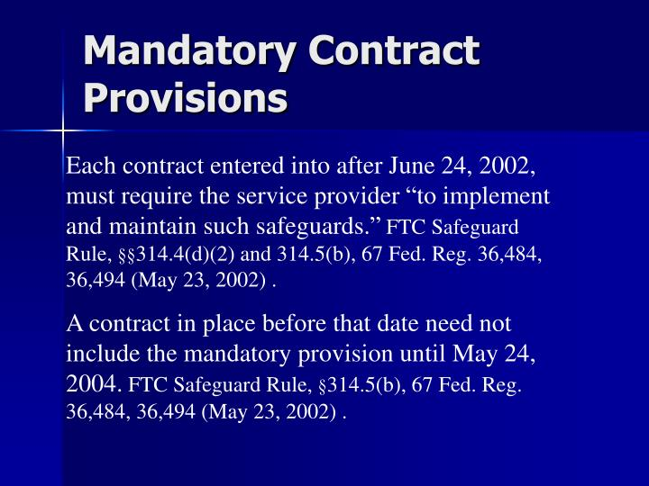 Mandatory Contract Provisions