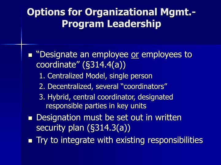 Options for Organizational Mgmt.-Program Leadership