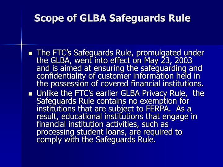 Scope of GLBA Safeguards Rule