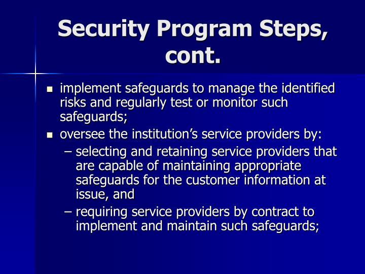 Security Program Steps, cont.