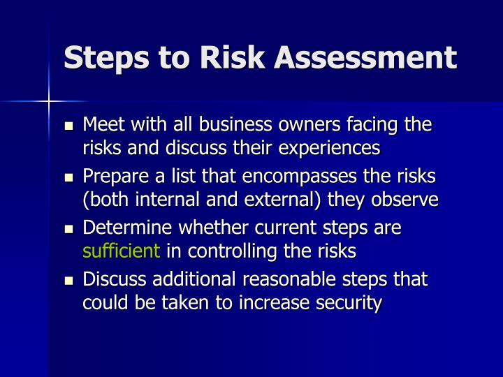 Steps to Risk Assessment