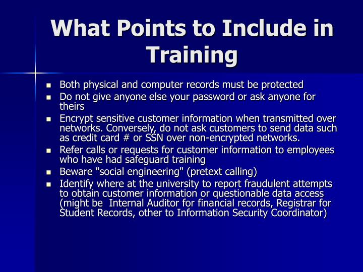 What Points to Include in Training