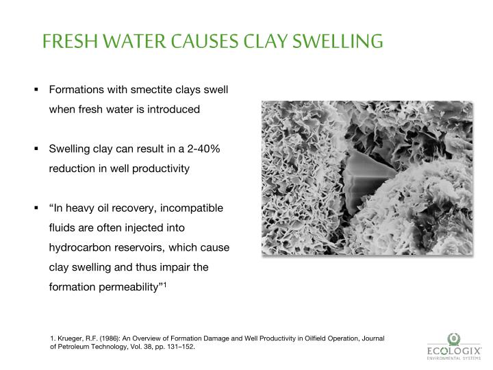 FRESH WATER CAUSES CLAY SWELLING