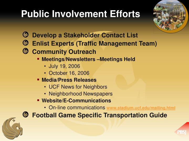 Public Involvement Efforts