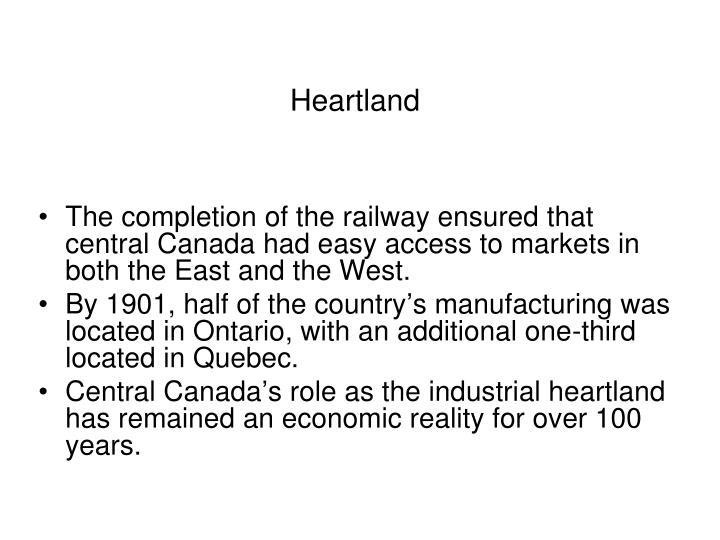 an analysis of the heartland hinterland concept of canada This alternate interpretation is based on a much enhanced role of the service  sector,  the heartland-hinterland model focuses on the division between an   understanding canada: building on the new canadian political economy (pp.