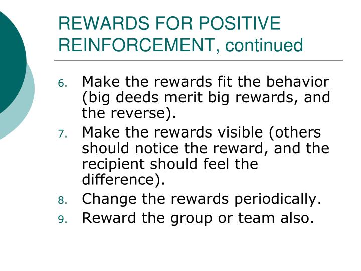 REWARDS FOR POSITIVE REINFORCEMENT, continued