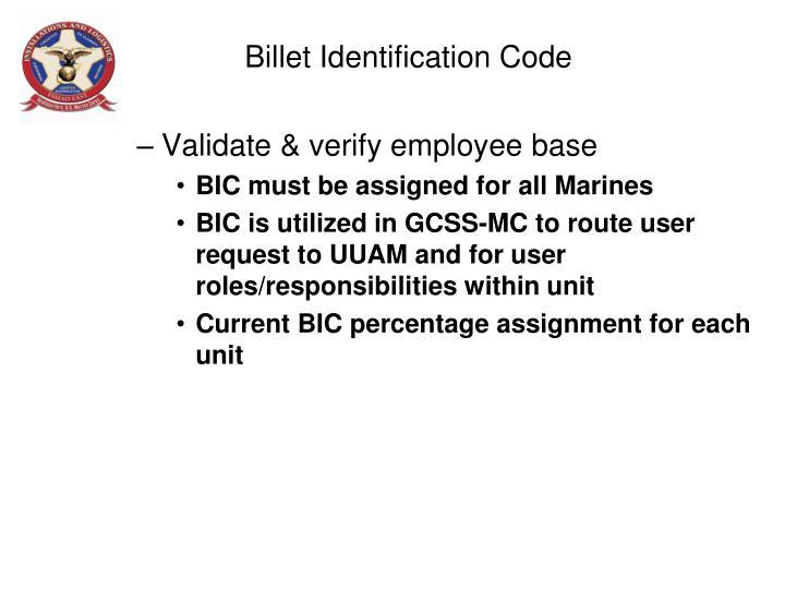 Billet Identification Code