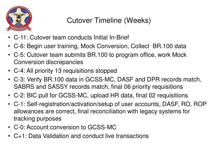 Cutover Timeline (Weeks)