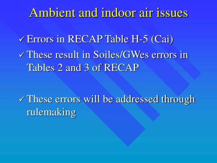 Ambient and indoor air issues