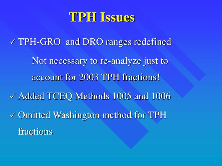 TPH Issues