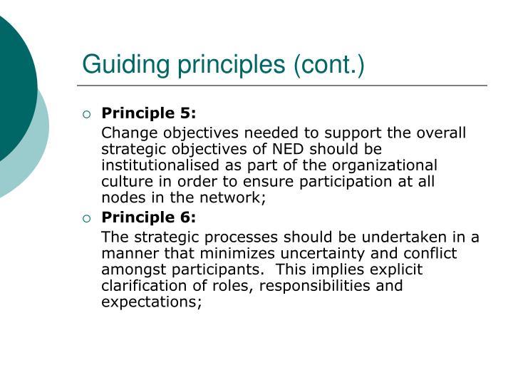 Guiding principles (cont.)