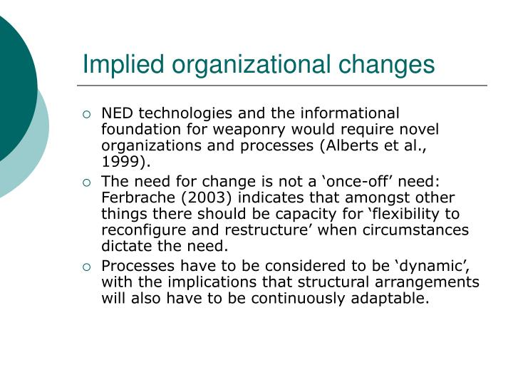 Implied organizational changes