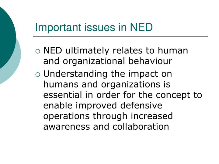 Important issues in NED