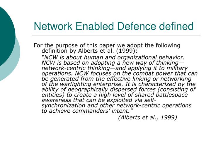 Network enabled defence defined