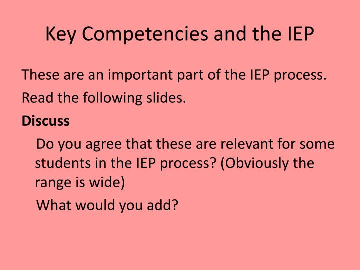 Key Competencies and the IEP