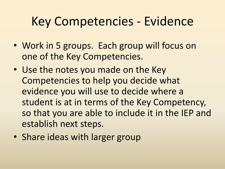 Key Competencies - Evidence