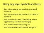 using language symbols and texts