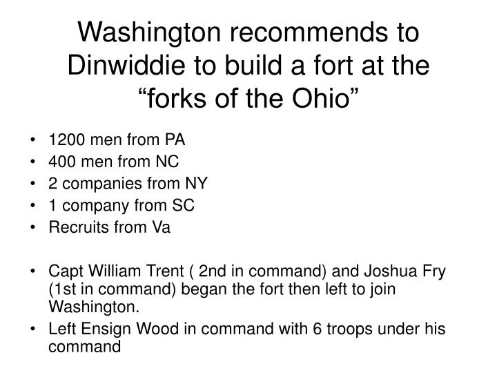 "Washington recommends to Dinwiddie to build a fort at the ""forks of the Ohio"""