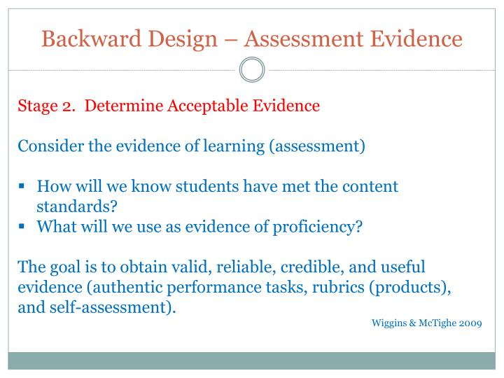 Backward Design – Assessment Evidence