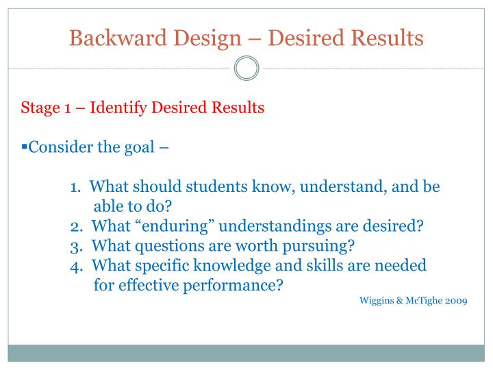 Backward Design – Desired Results