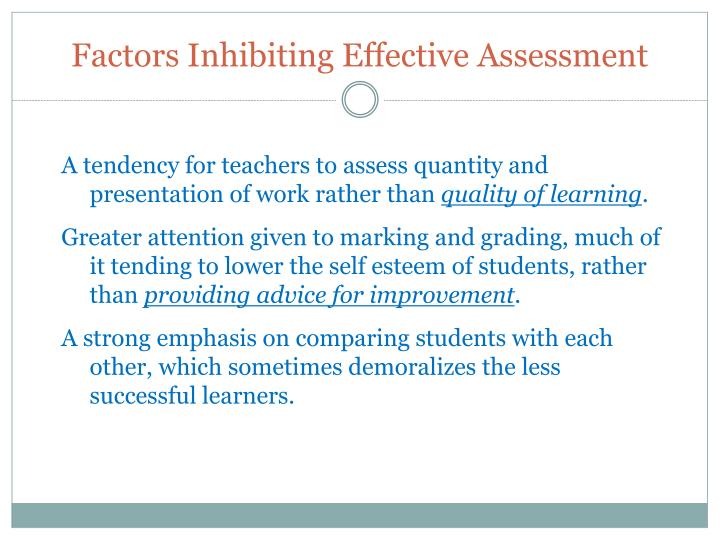 Factors Inhibiting Effective Assessment