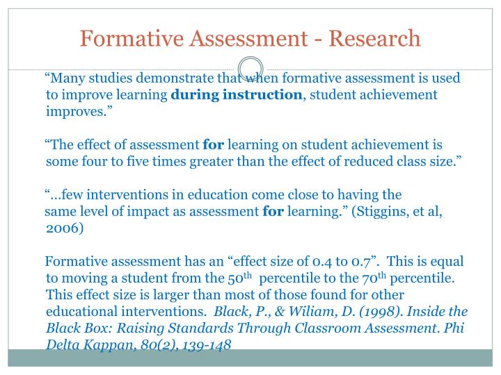 Formative Assessment - Research