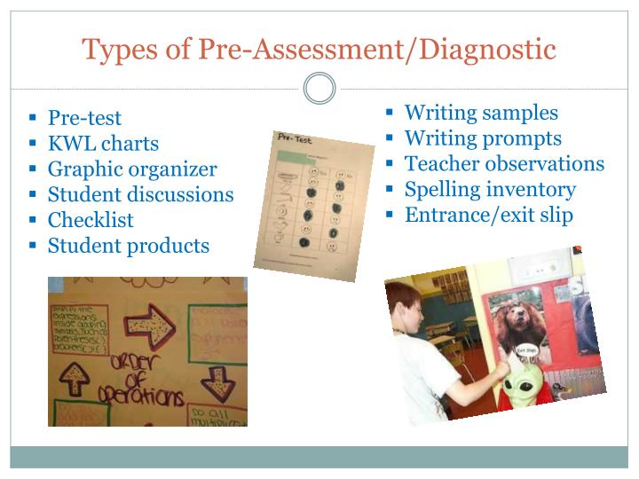 Types of Pre-Assessment/Diagnostic