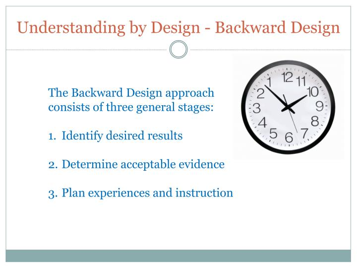 Understanding by Design - Backward Design