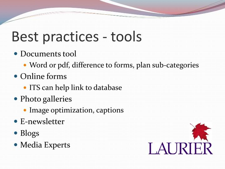 Best practices - tools