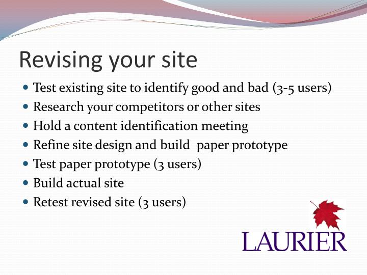 Revising your site